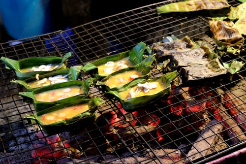 Free stock photo of asian food, bamboo leaf, barbecue, eggs