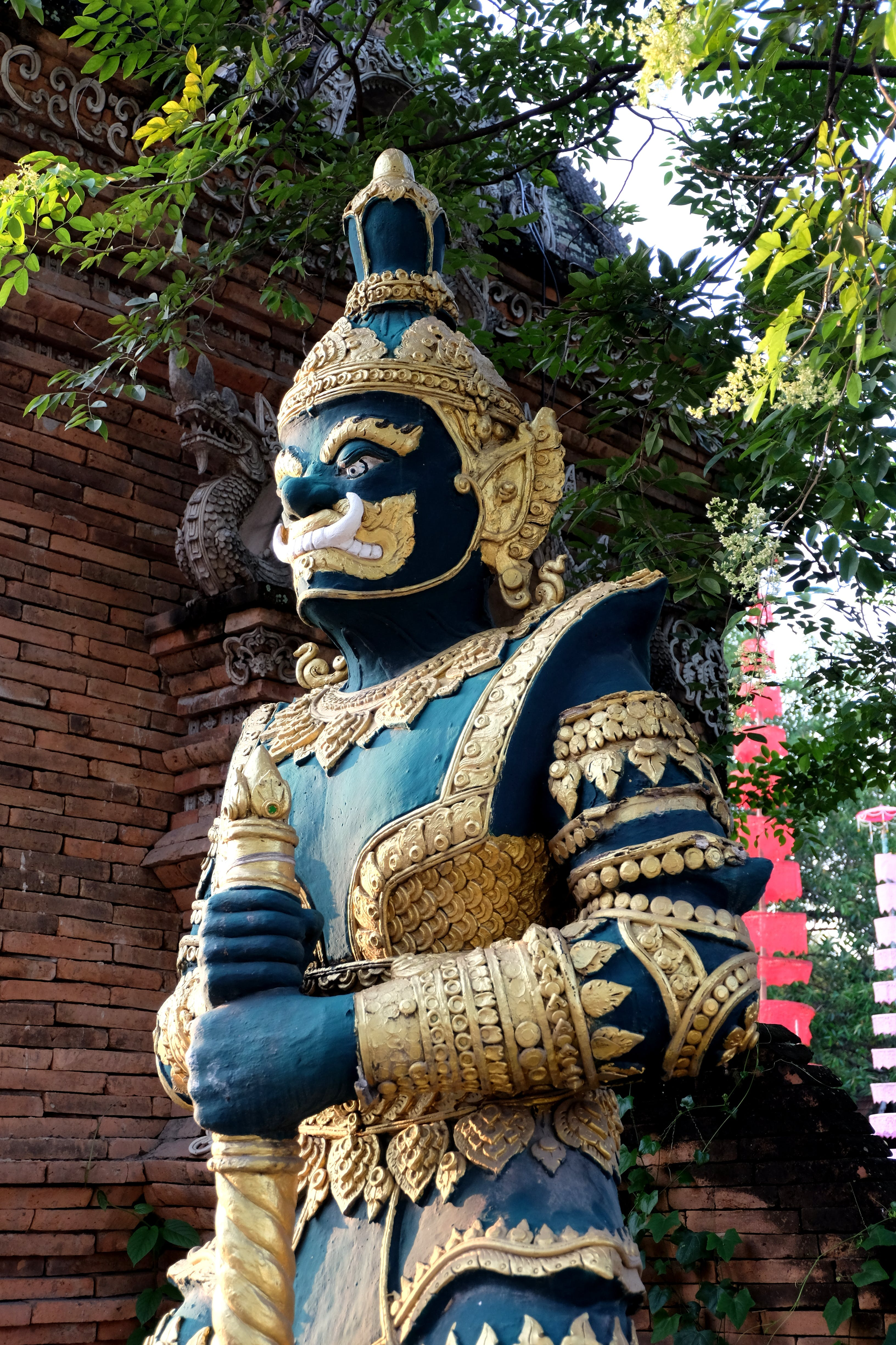 of chiang mai, gold, green, statue