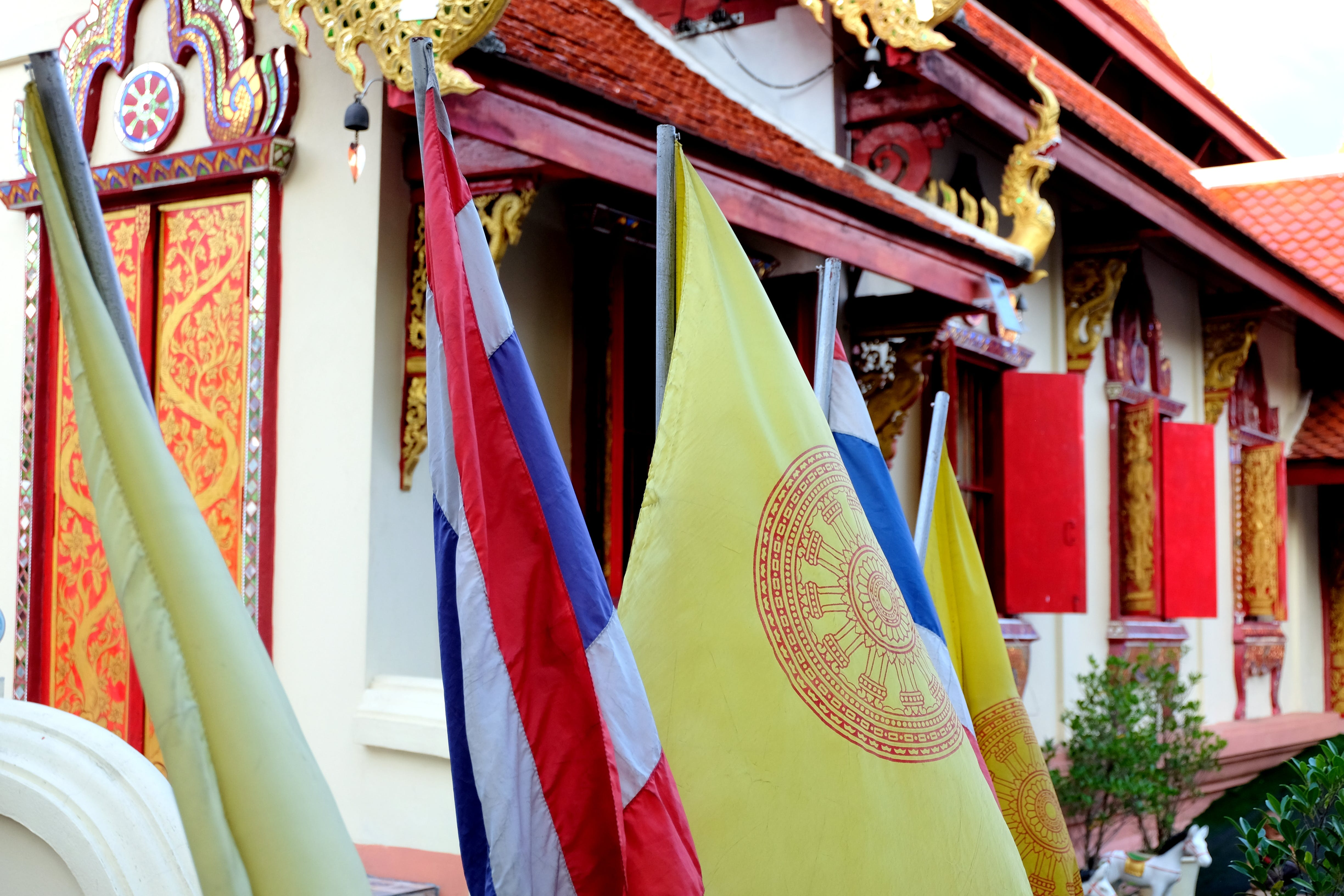 Free stock photo of flag, flags, temple, thailand