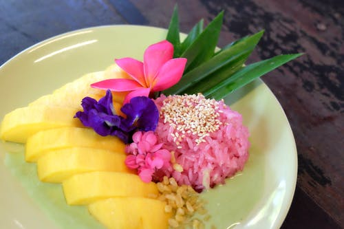 Free stock photo of asian food, fruit, mango, mango with sticky rice