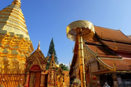 Free stock photo of blue sky, chiang mai, doi suthep, gold