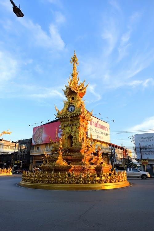chiang rai, gold, golden clock
