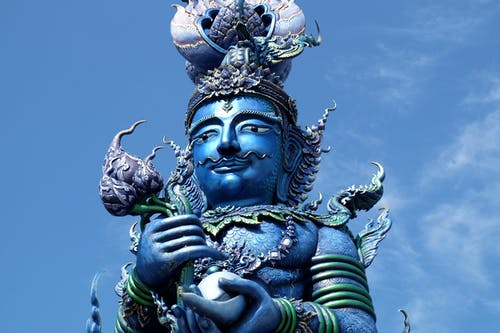 Free stock photo of blue, blue temple, chiang rai, statue