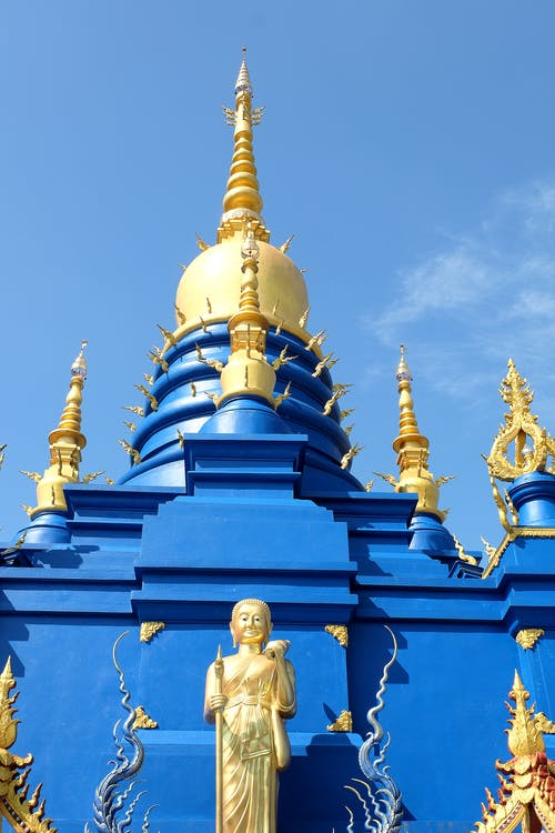 Free stock photo of blue, blue temple, chiang rai, gold