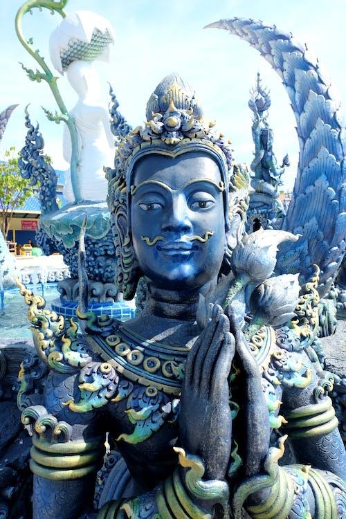blue, chiang rai, statue