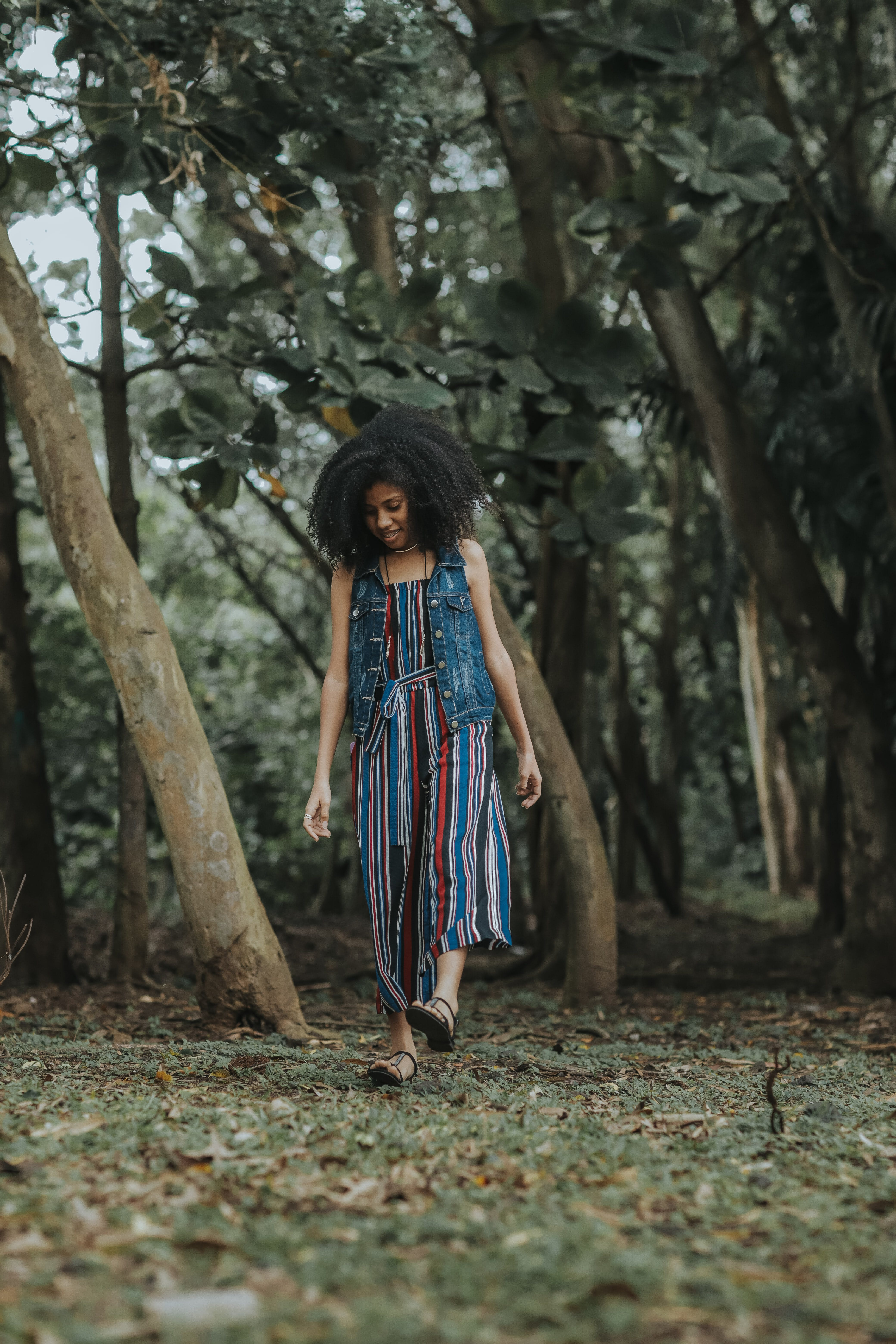 Woman Walking on Forest