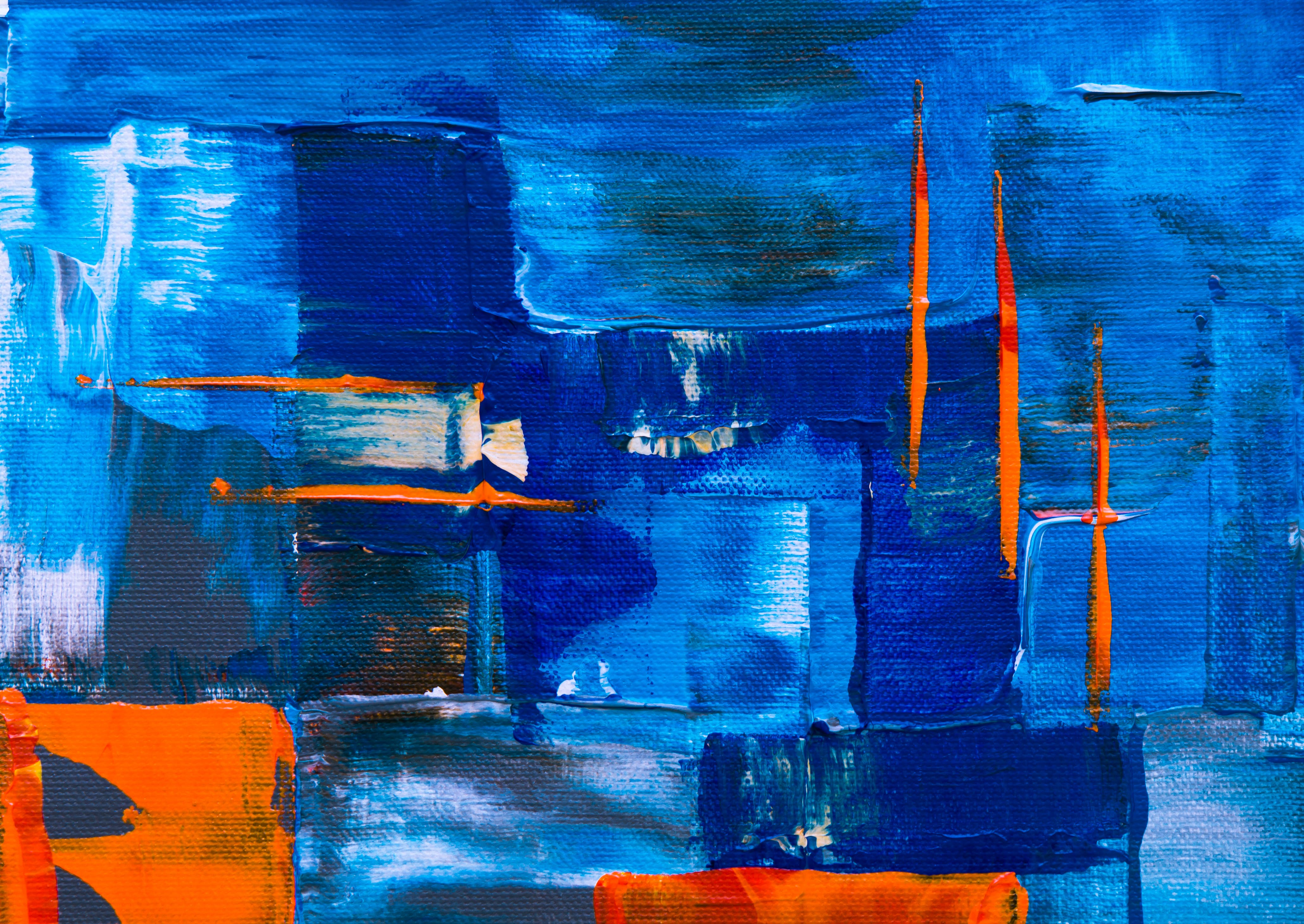 Blue, Orange, White, and Green Abstract Painting
