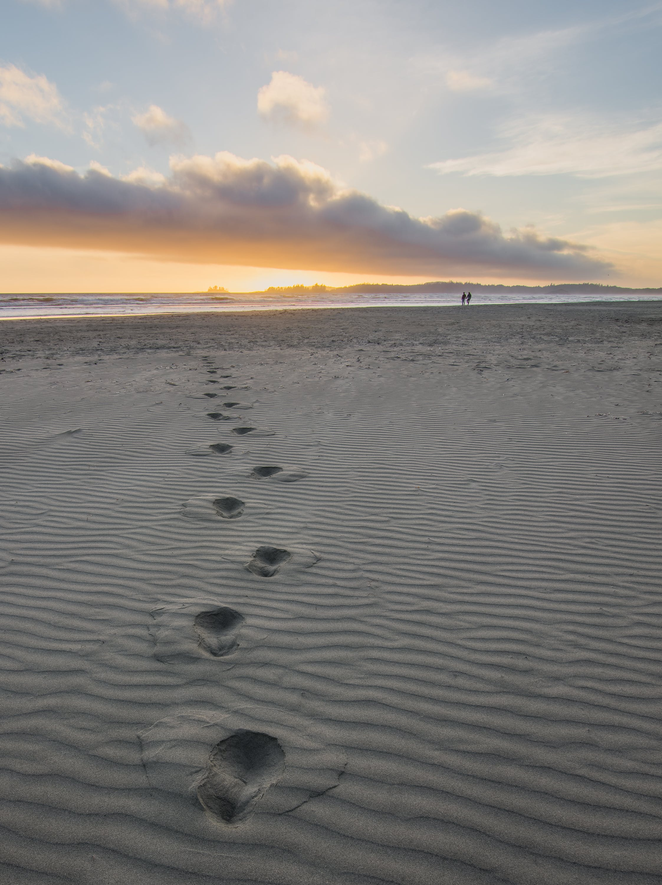 Foot Prints in Gray Sand