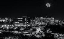 black-and-white, city, lights