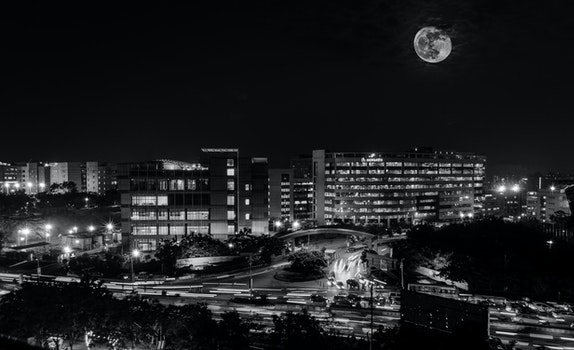 Free stock photo of black-and-white, city, lights, night