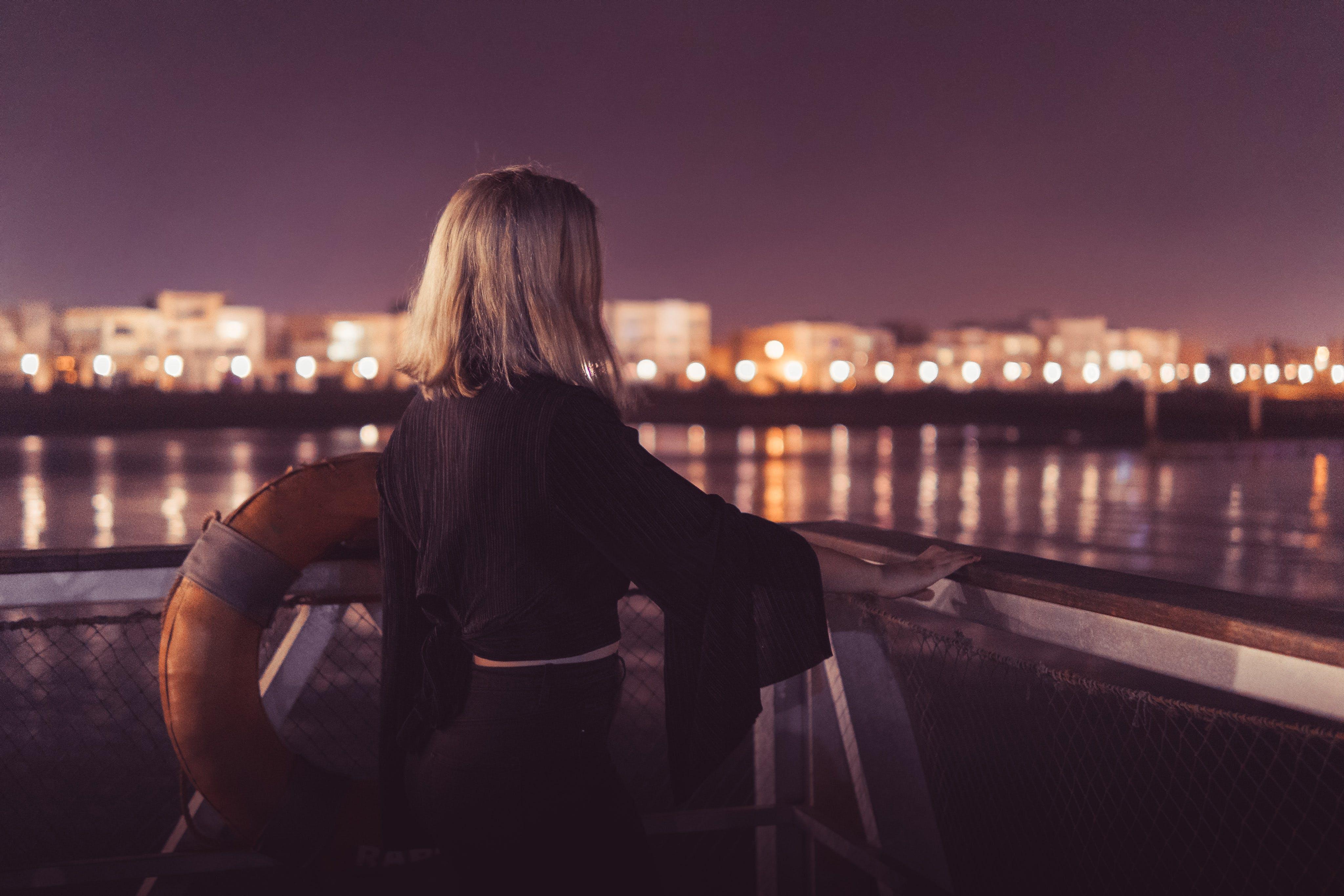abend, beleuchtung, blondes haar