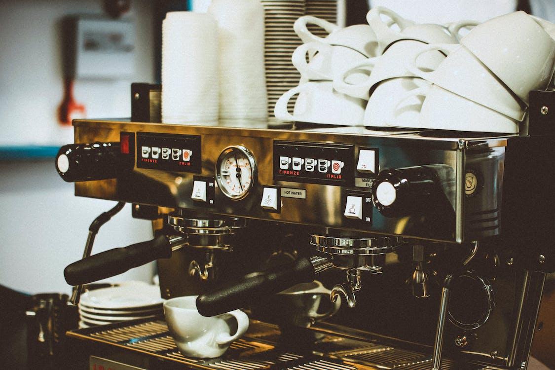 Espresso Machine With White Mugs