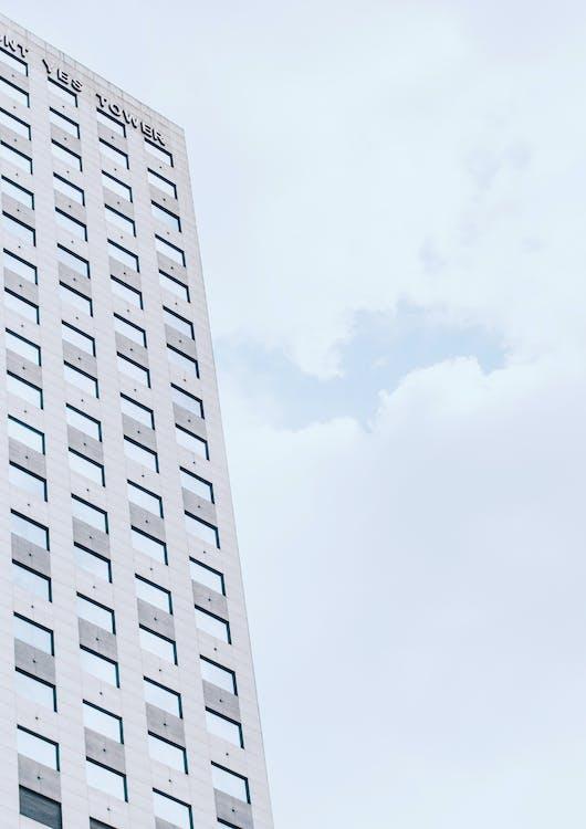 budynek, chmura, linia