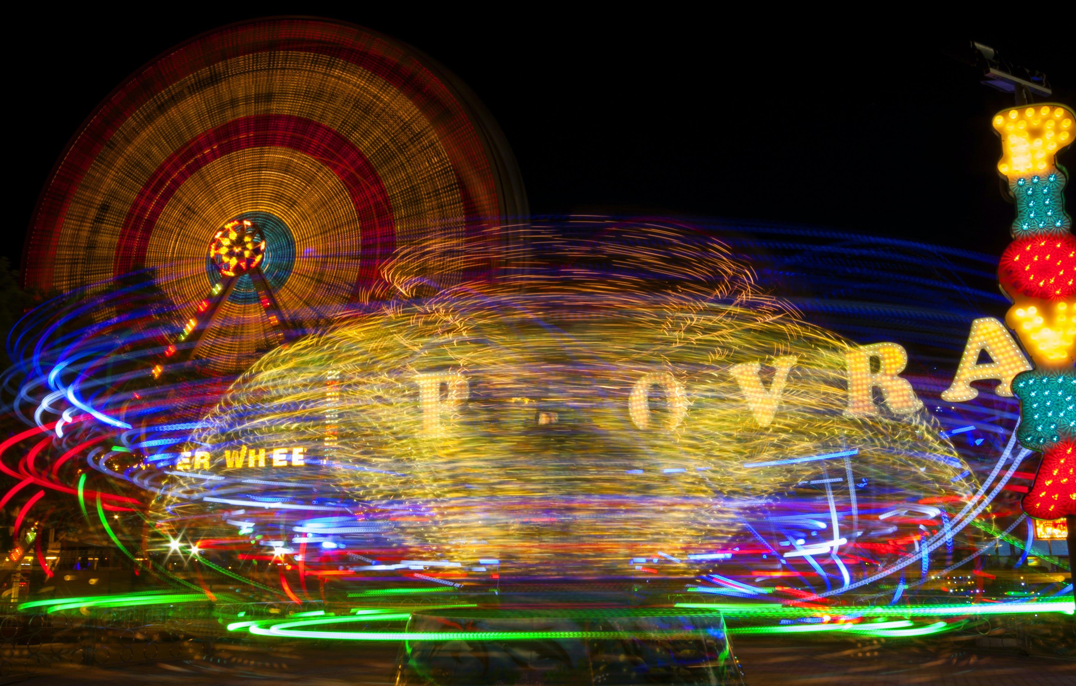 Free stock photo of night, summer, motion, amusement park