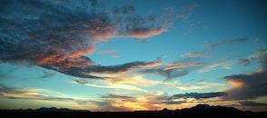 dawn, sunset, clouds