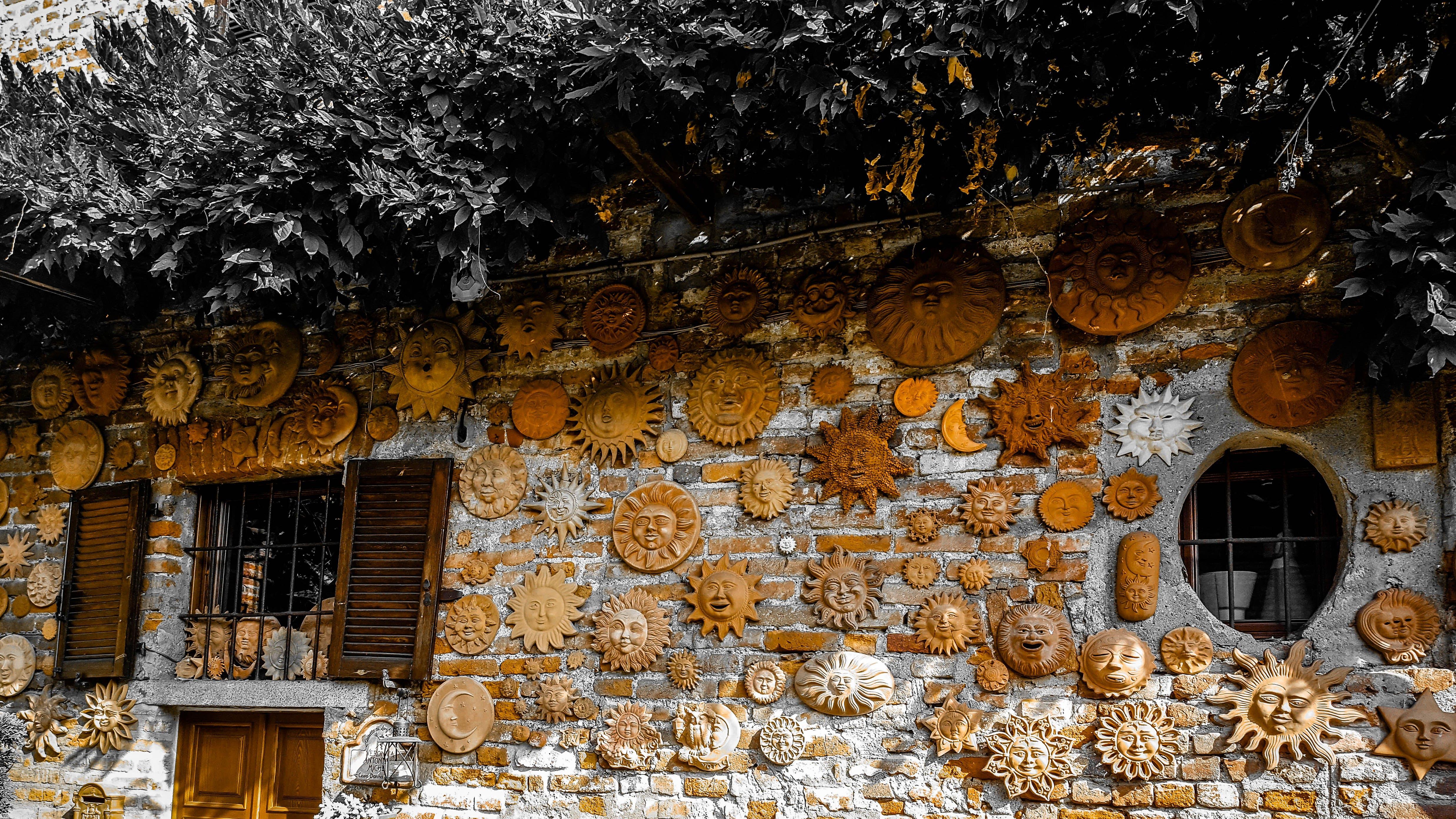 Free stock photo of lombardy, sun, terracotta, wall