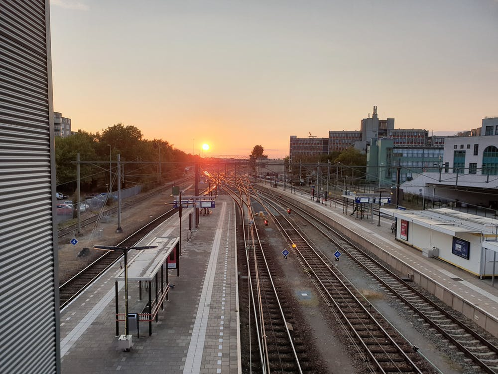 clear sky, sunset, train station