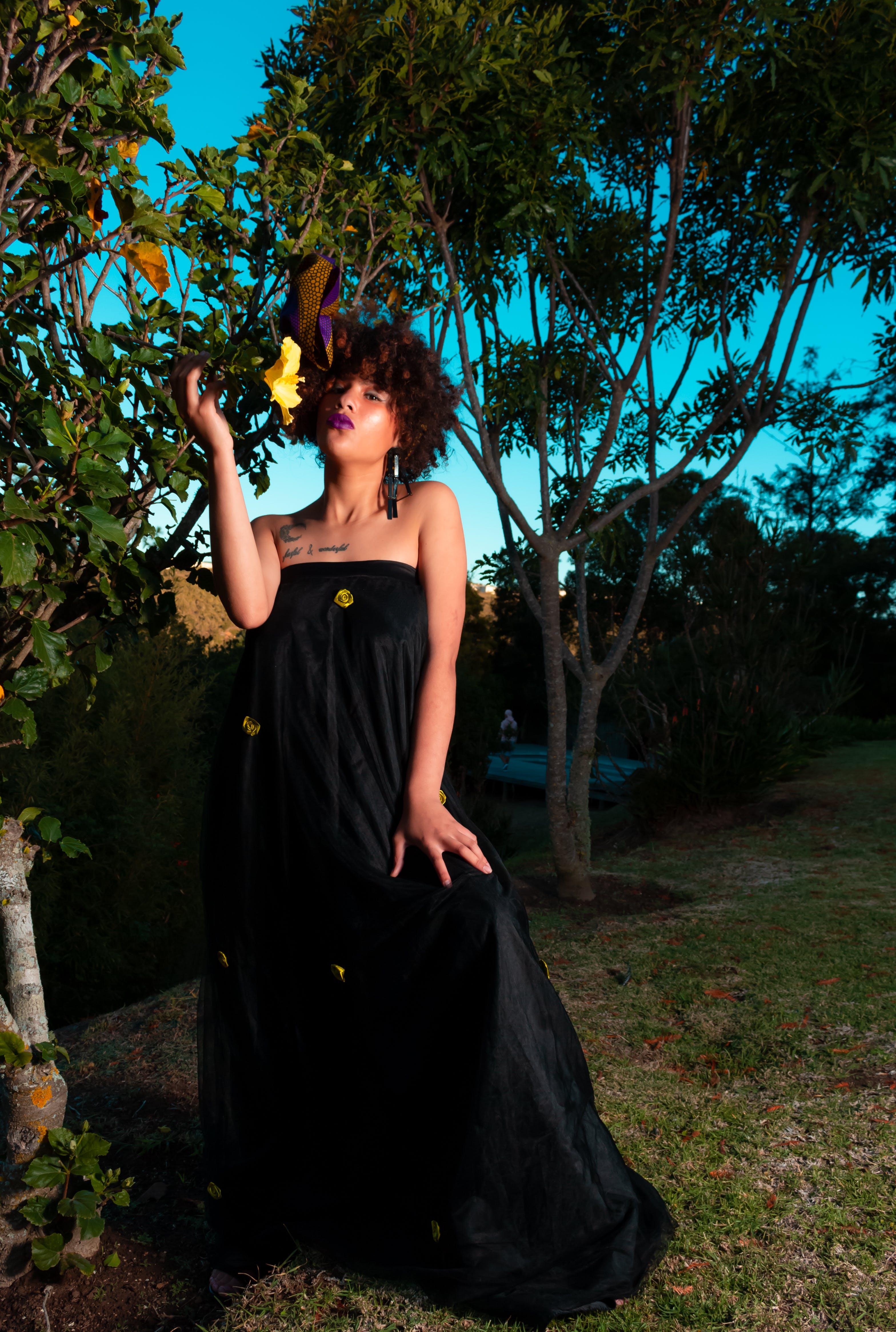 Woman Wearing Black Tube Long Dress