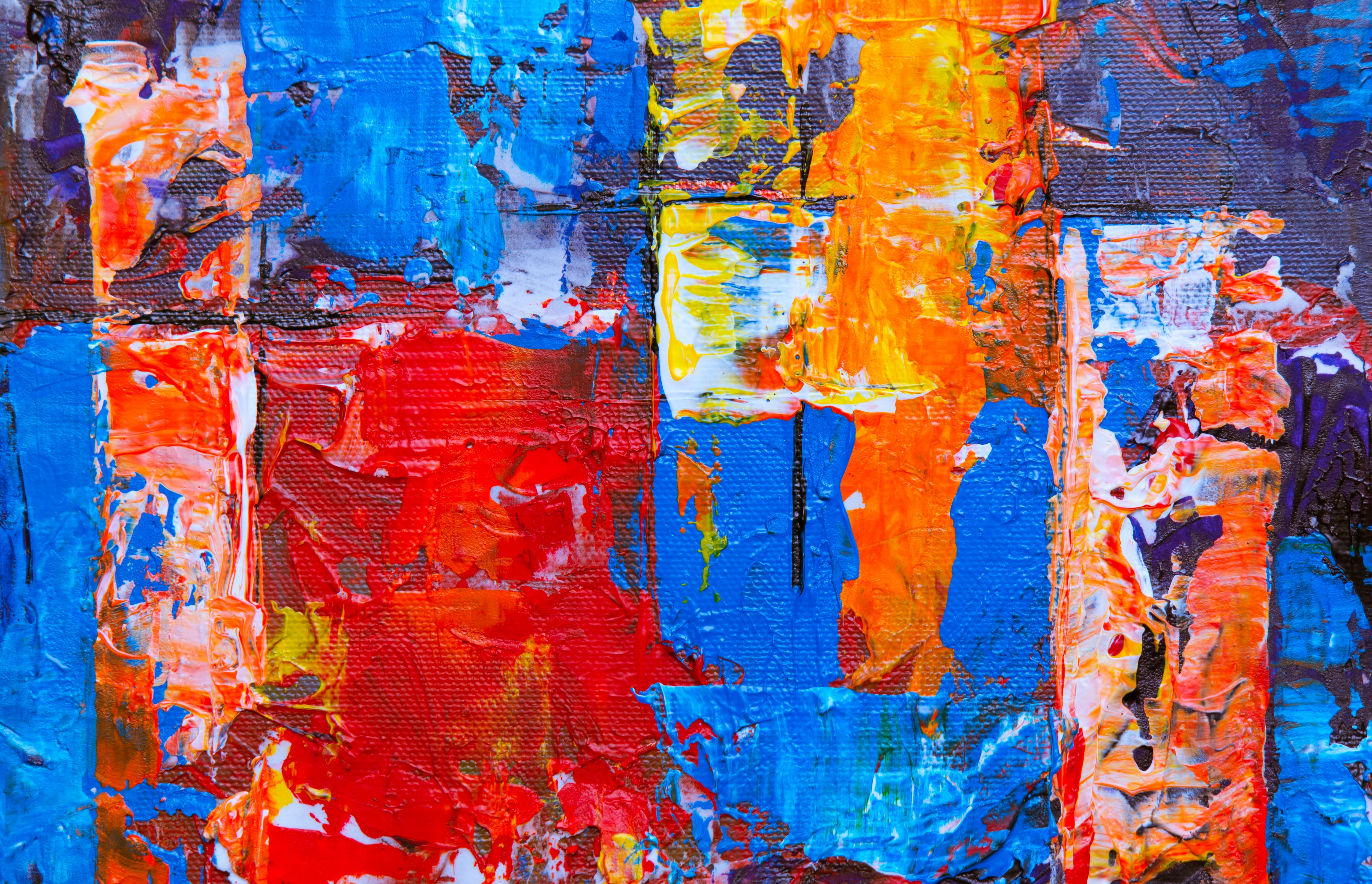 Red, Blue, and Orange Abstract Painting