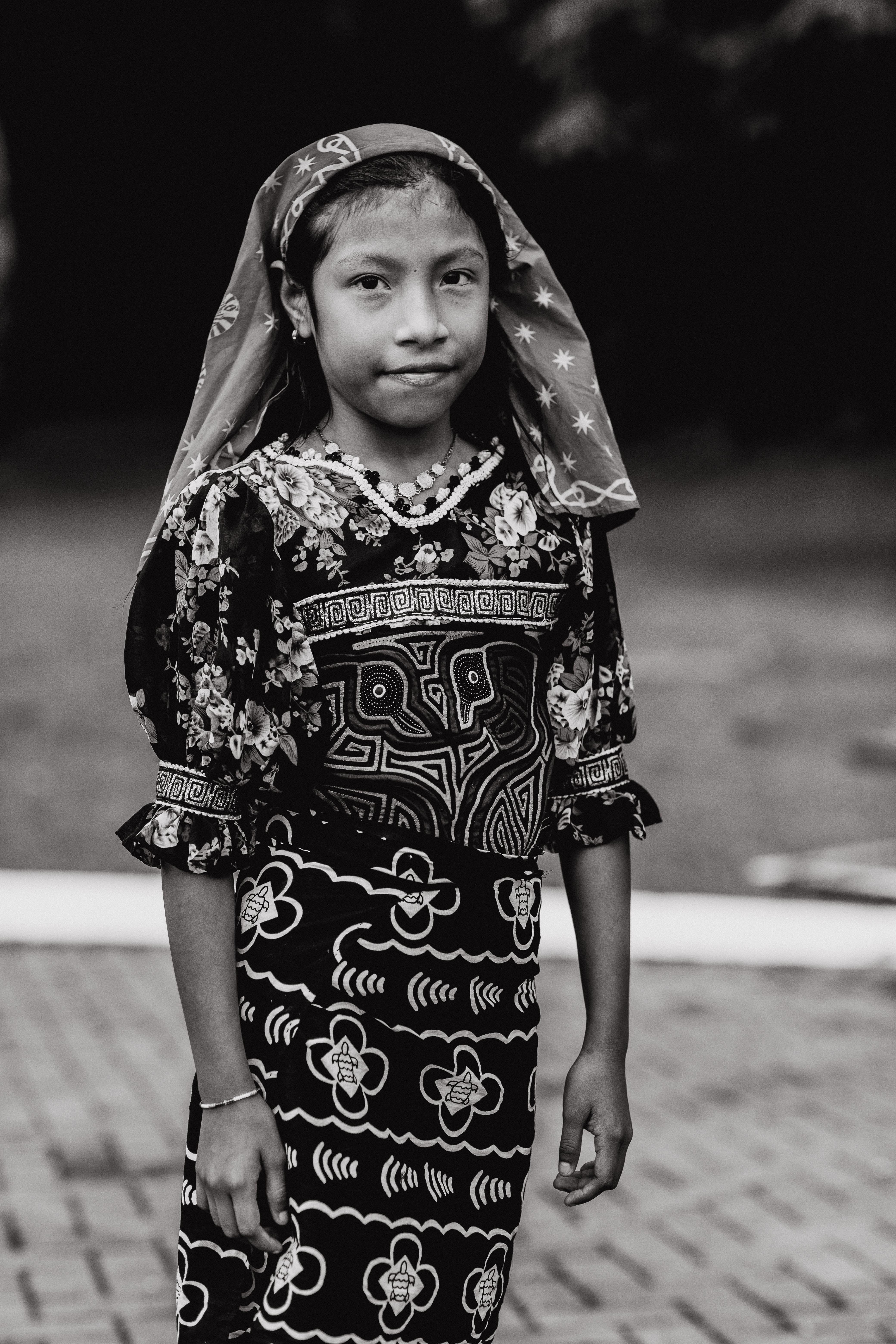 Grayscale Photography of Girl Wearing Quarter-sleeved Dress