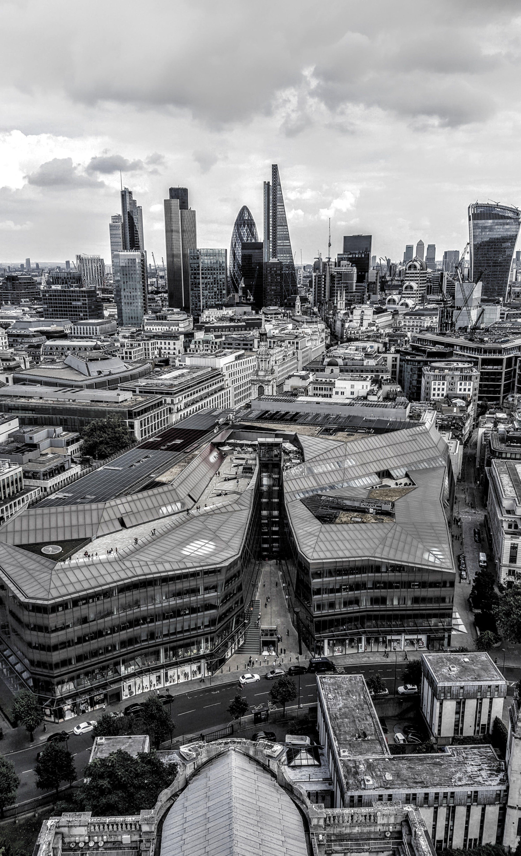 Grayscale Aerial City Skyline Photography