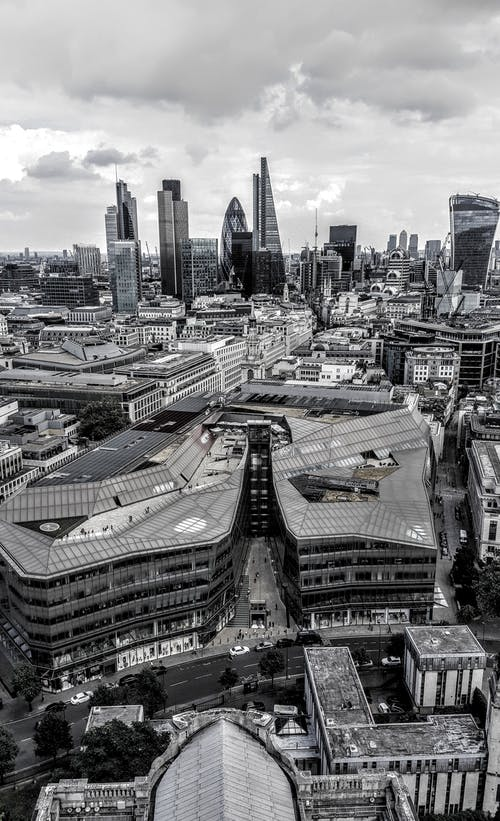 Grayscale Aerial City Skyline Photography