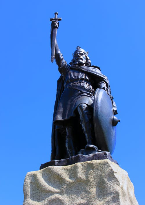 Free stock photo of King Alfred, statue, sword