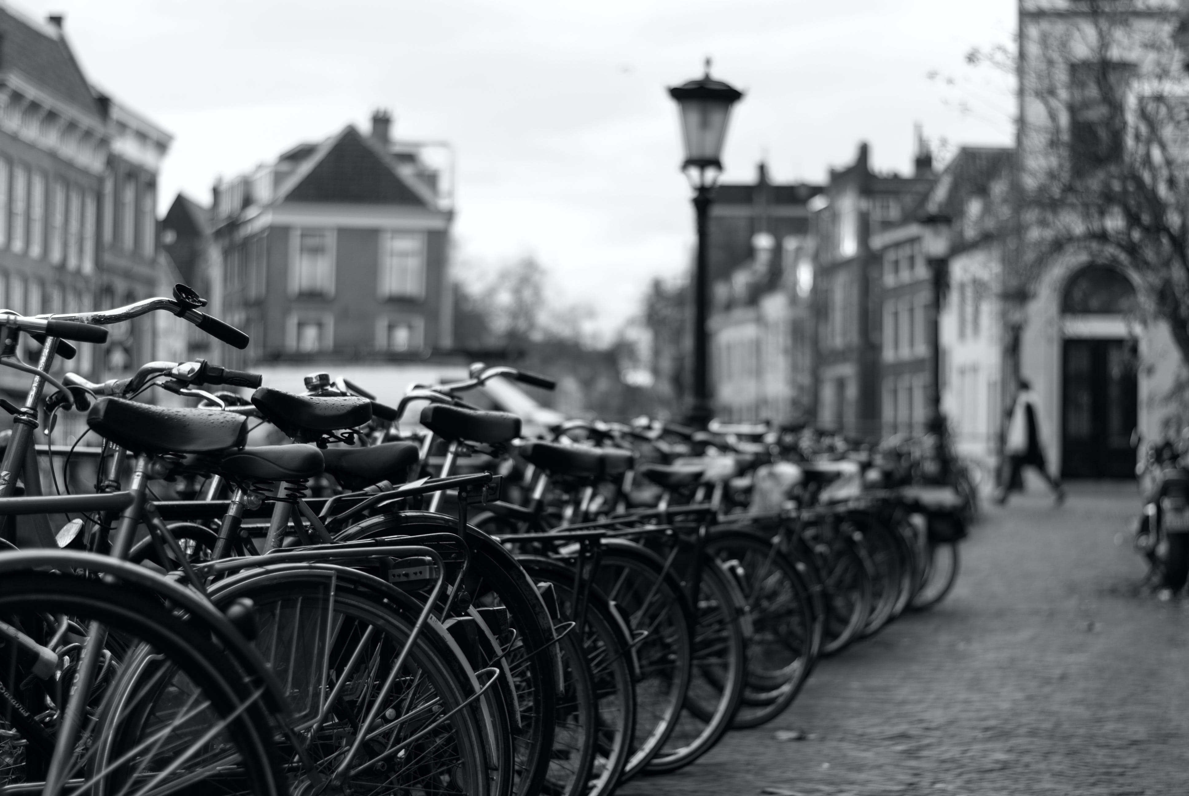 Free stock photo of bicycles, black and white, street