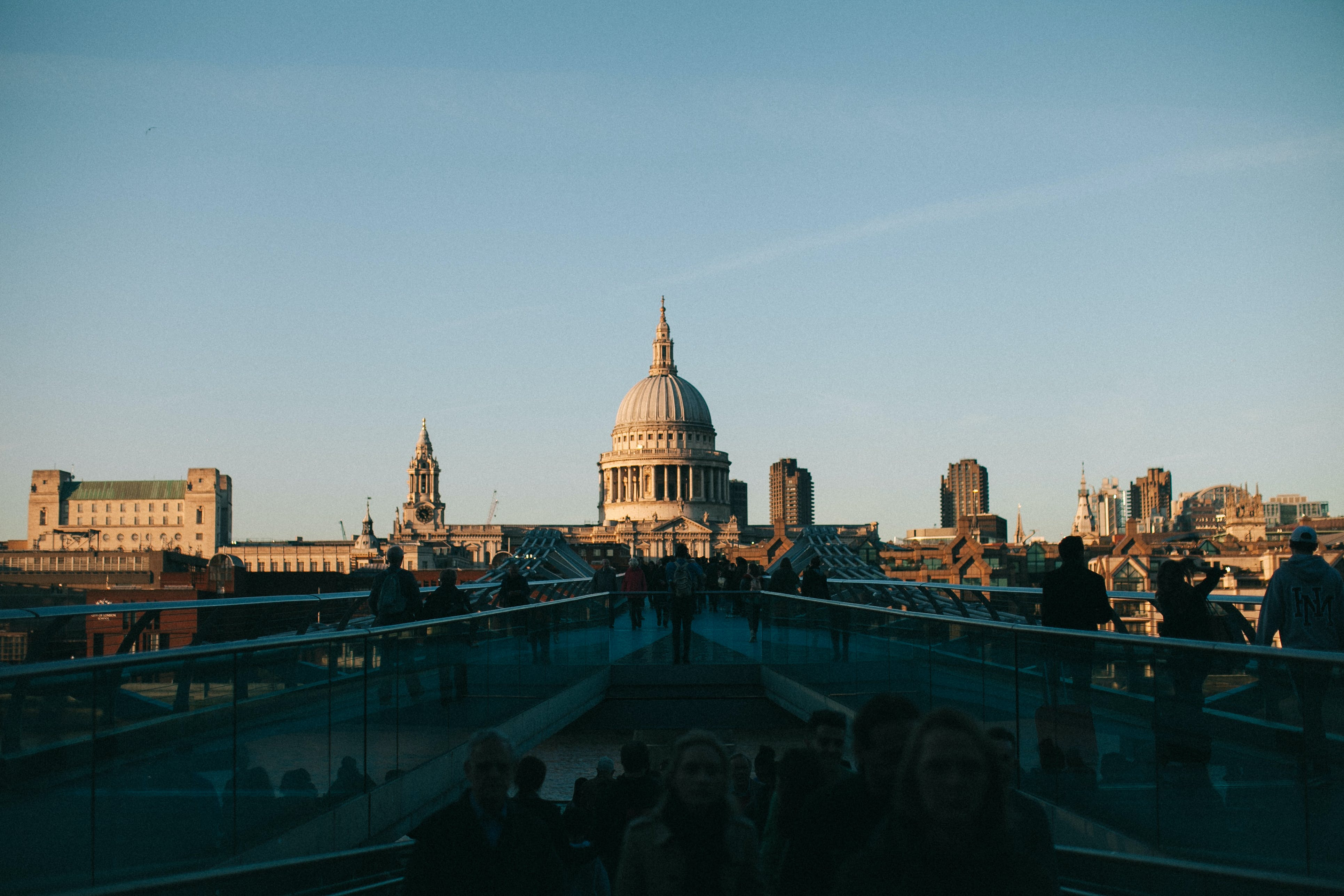 Silhouette Of People Behind St Paul's Cathedral