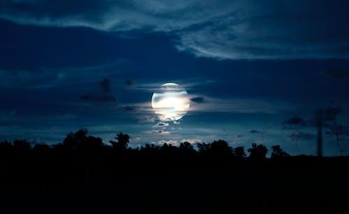 Kostnadsfri bild av blå himmel, fullmåne, lysande måne, mörkblå