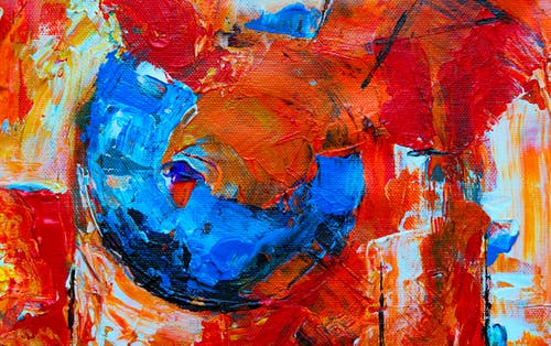 Red and Multicolored Abstract Painting Close-up Photography
