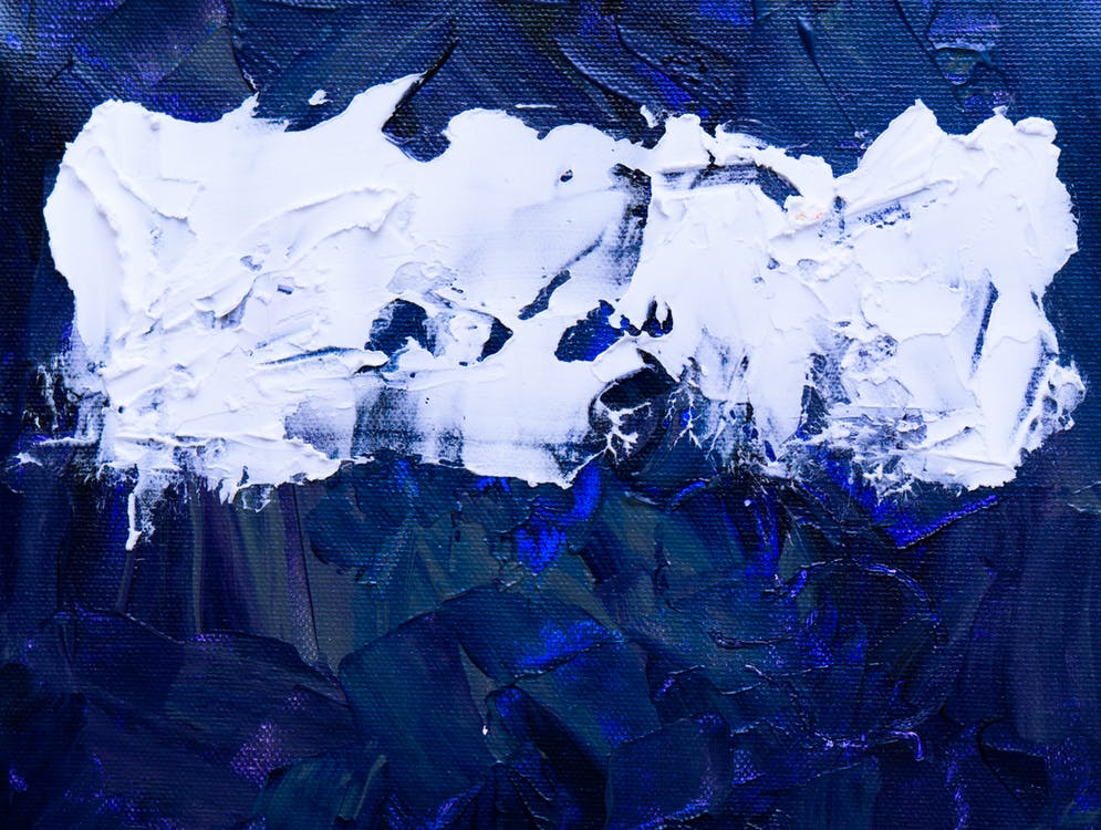 Blue and White Abstract Painting