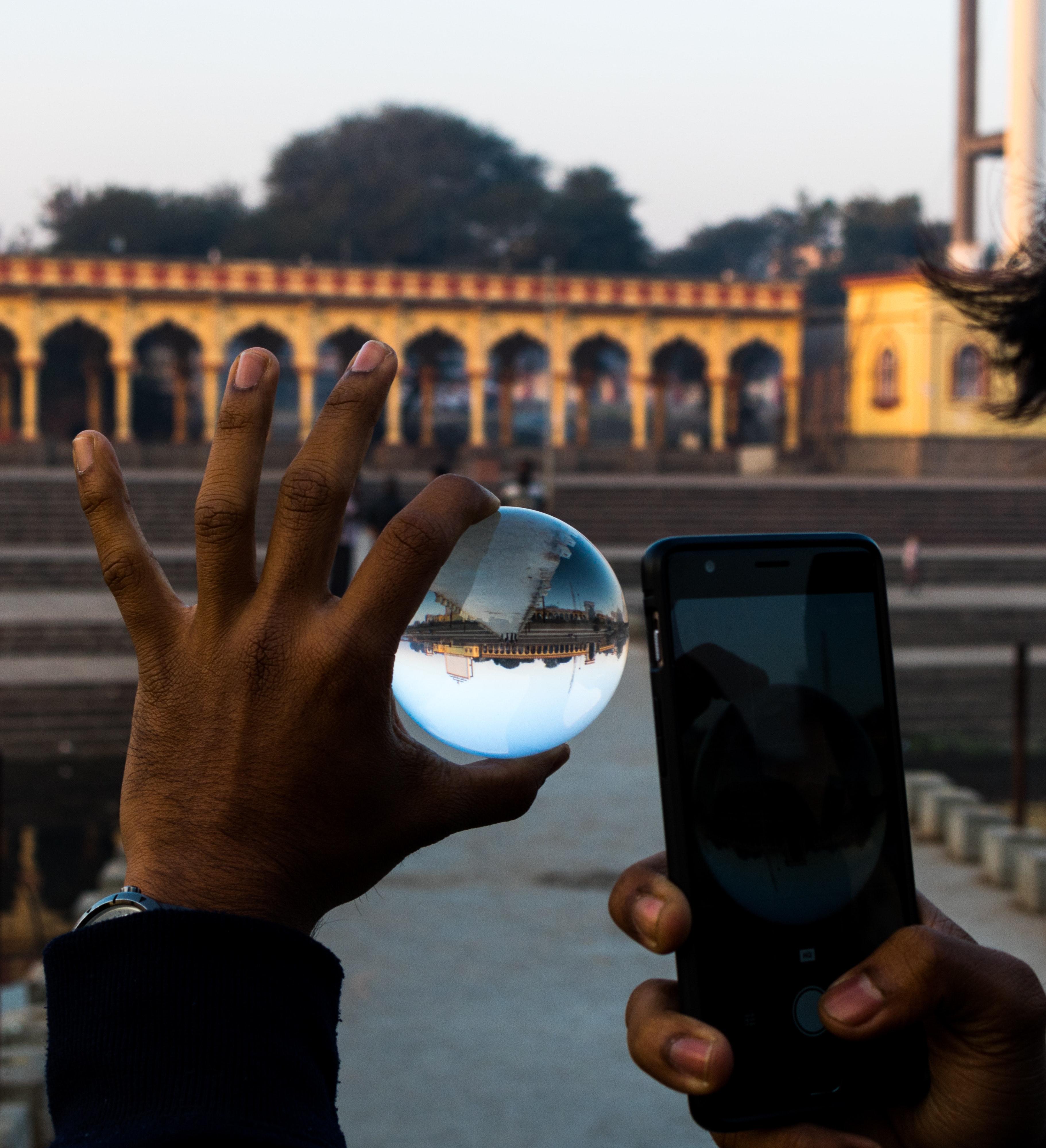 Free stock photo of #ball #glassball #mobile #reflection