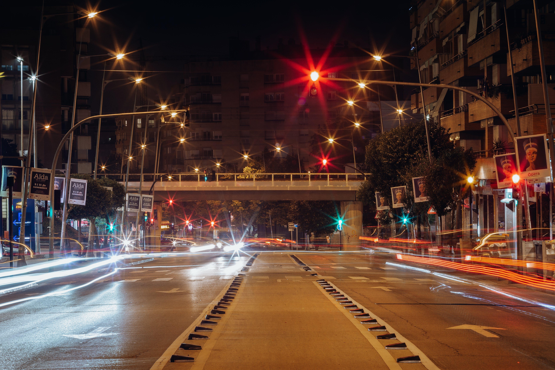 Free stock photo of cars, night life, night lights, Slow shutter