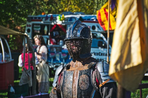 Photo of a Person Wearing a Knight Armor