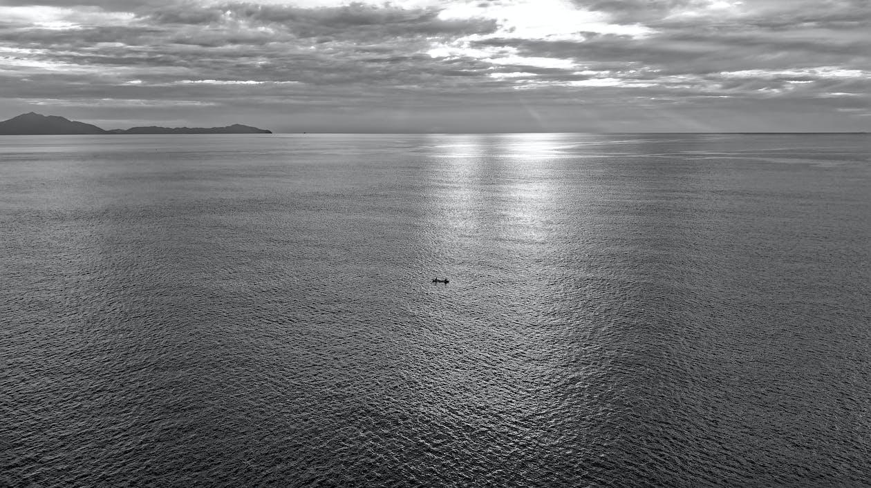 Monochrome Photography of an Ocean