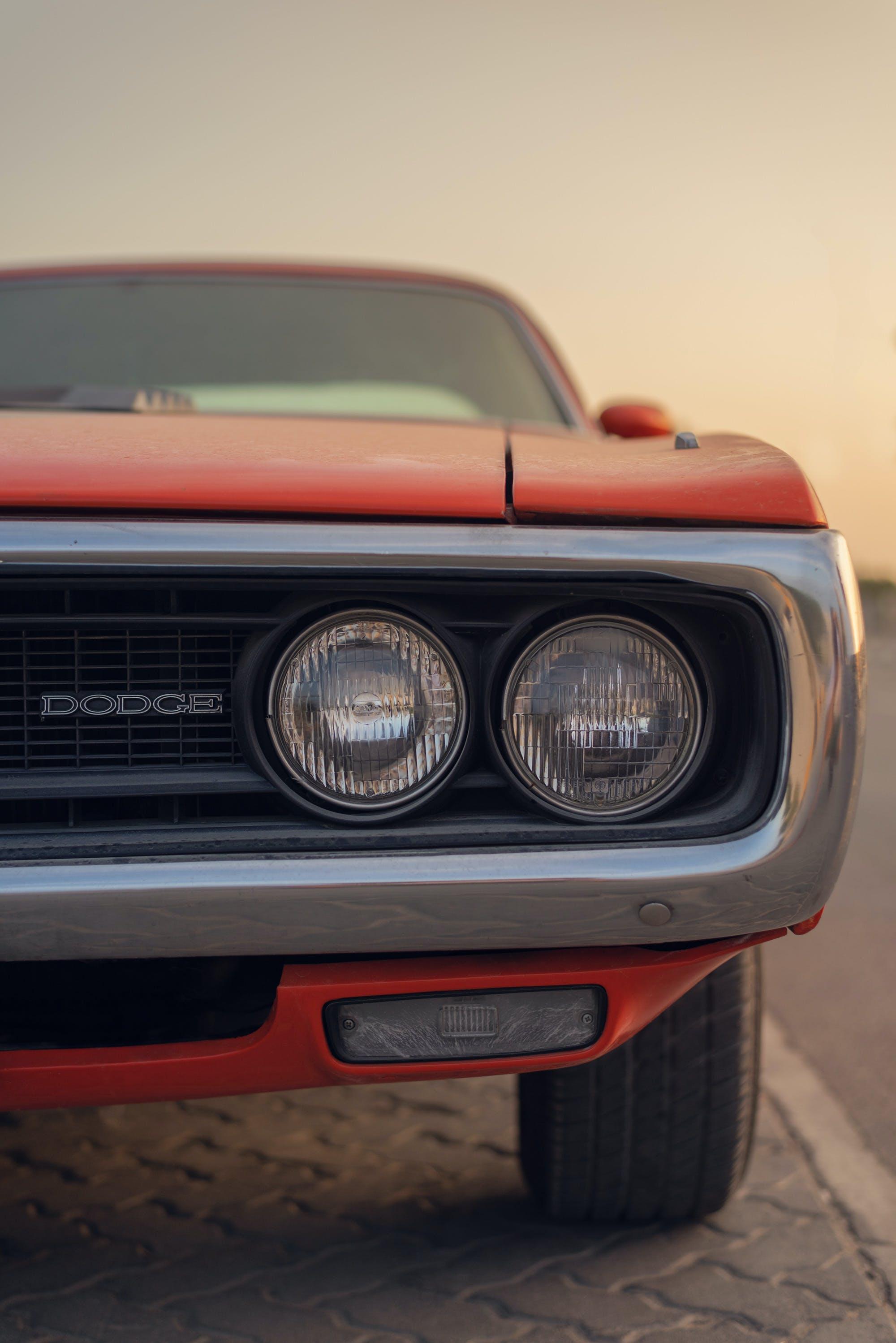 Free stock photo of american car, car model, dodge, golden sunset