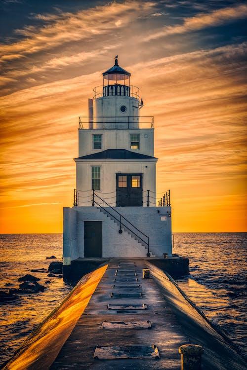 Immagine gratuita di alba, faro, lago michigan