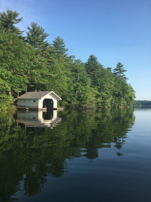Free stock photo of boat house, boathouse, calm lake