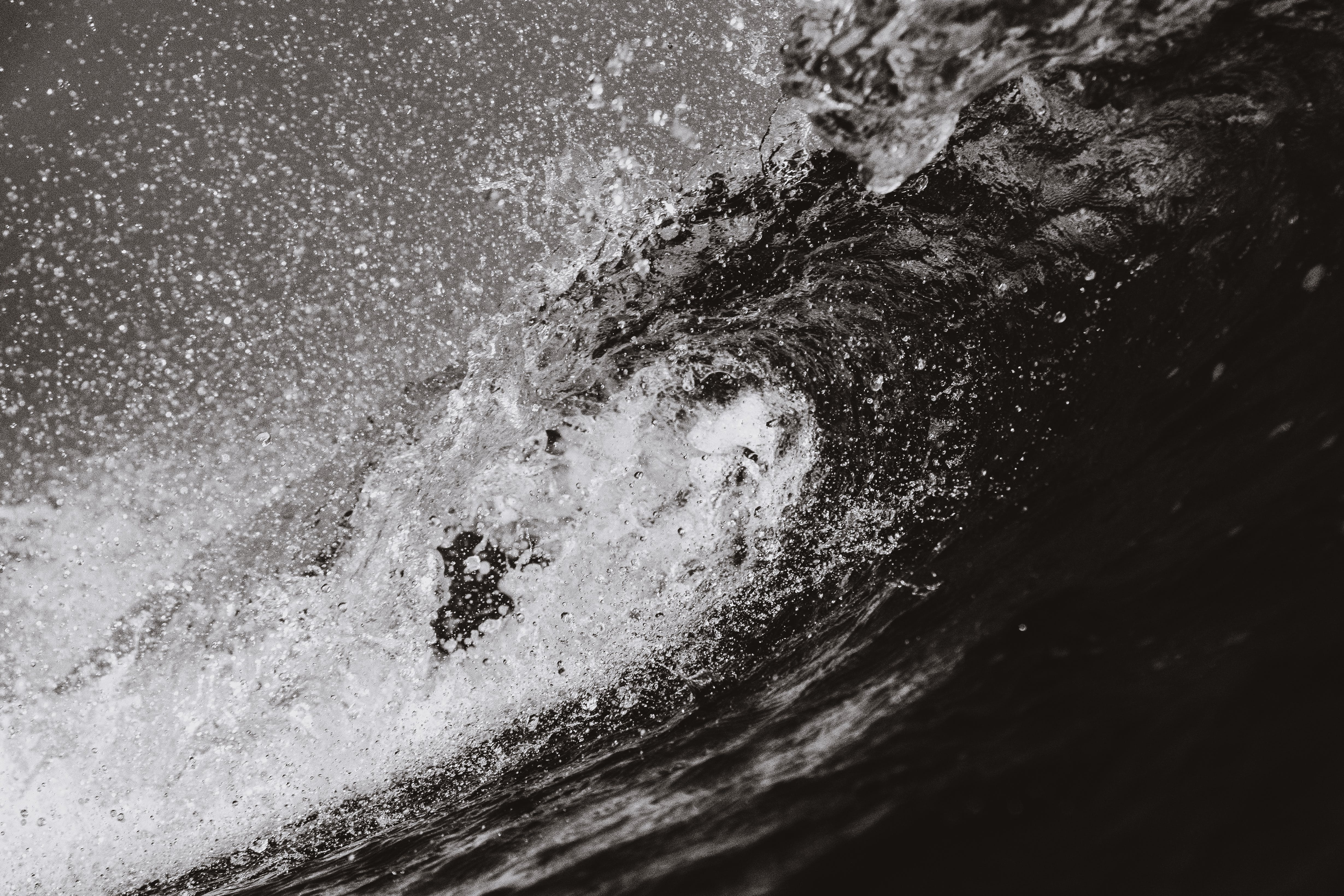 Grayscale Photo of Sea Waves