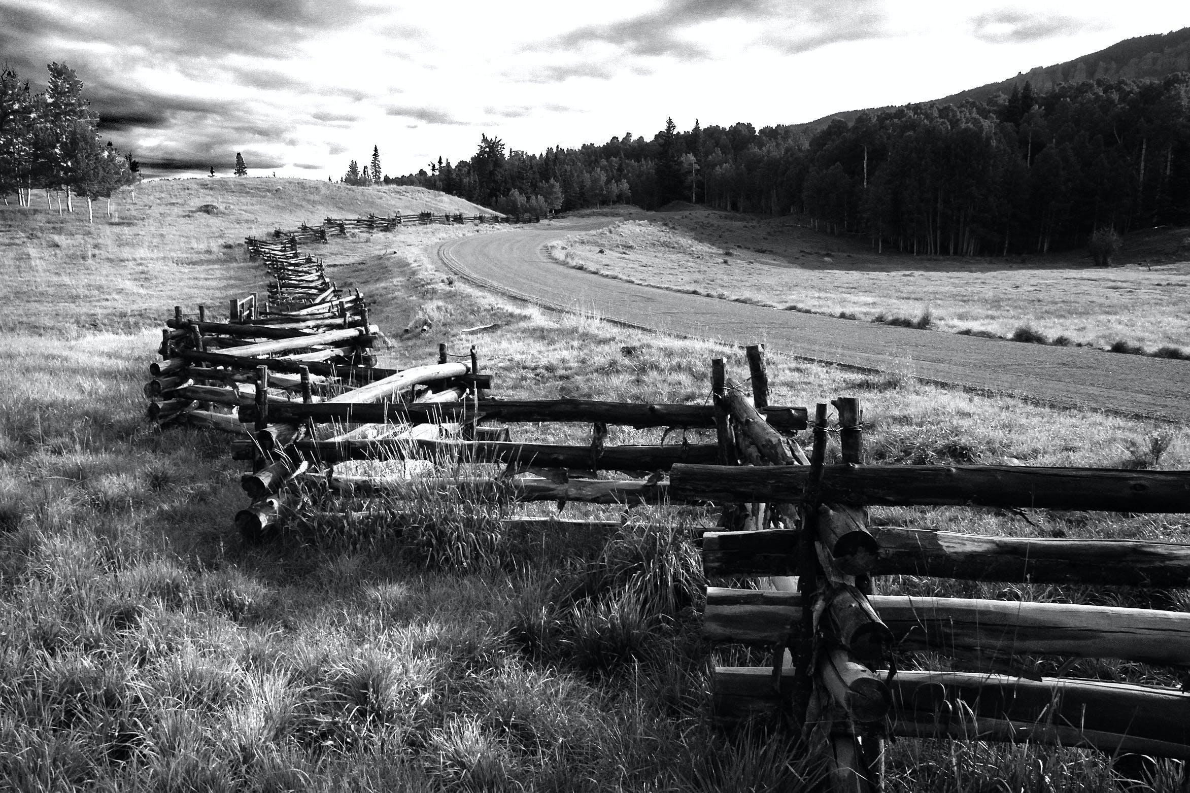 Základová fotografie zdarma na téma černobílý, dřevěný, dřevěný plot, dřevo