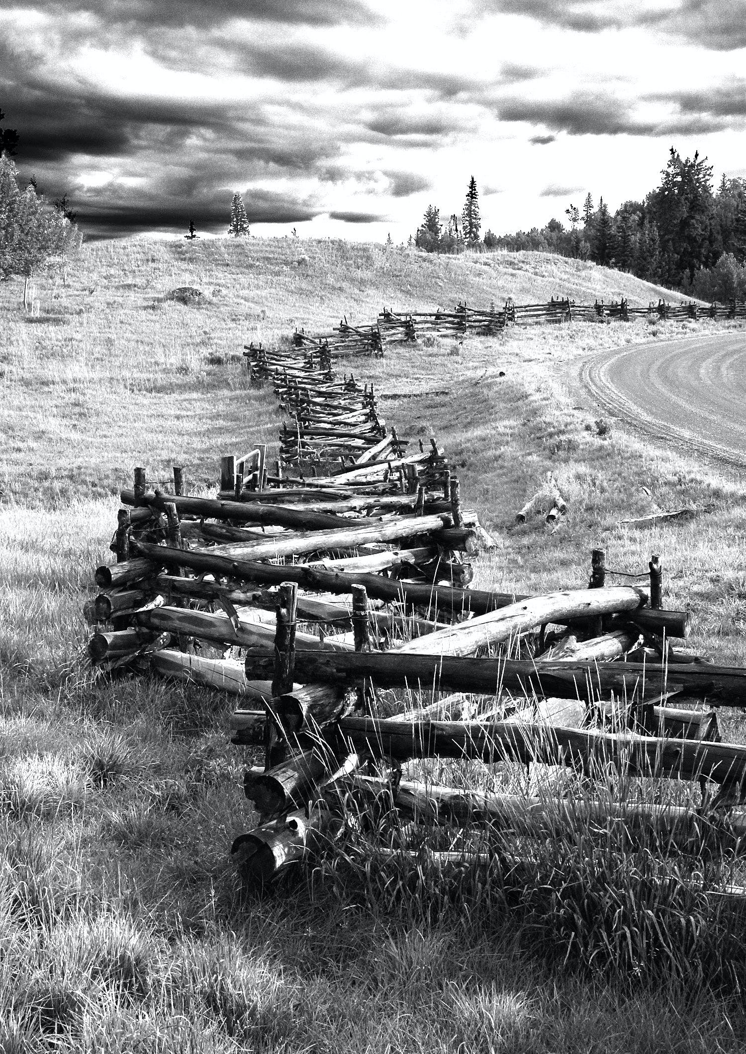 Gray Scale Photography of Brown Wooden Fence
