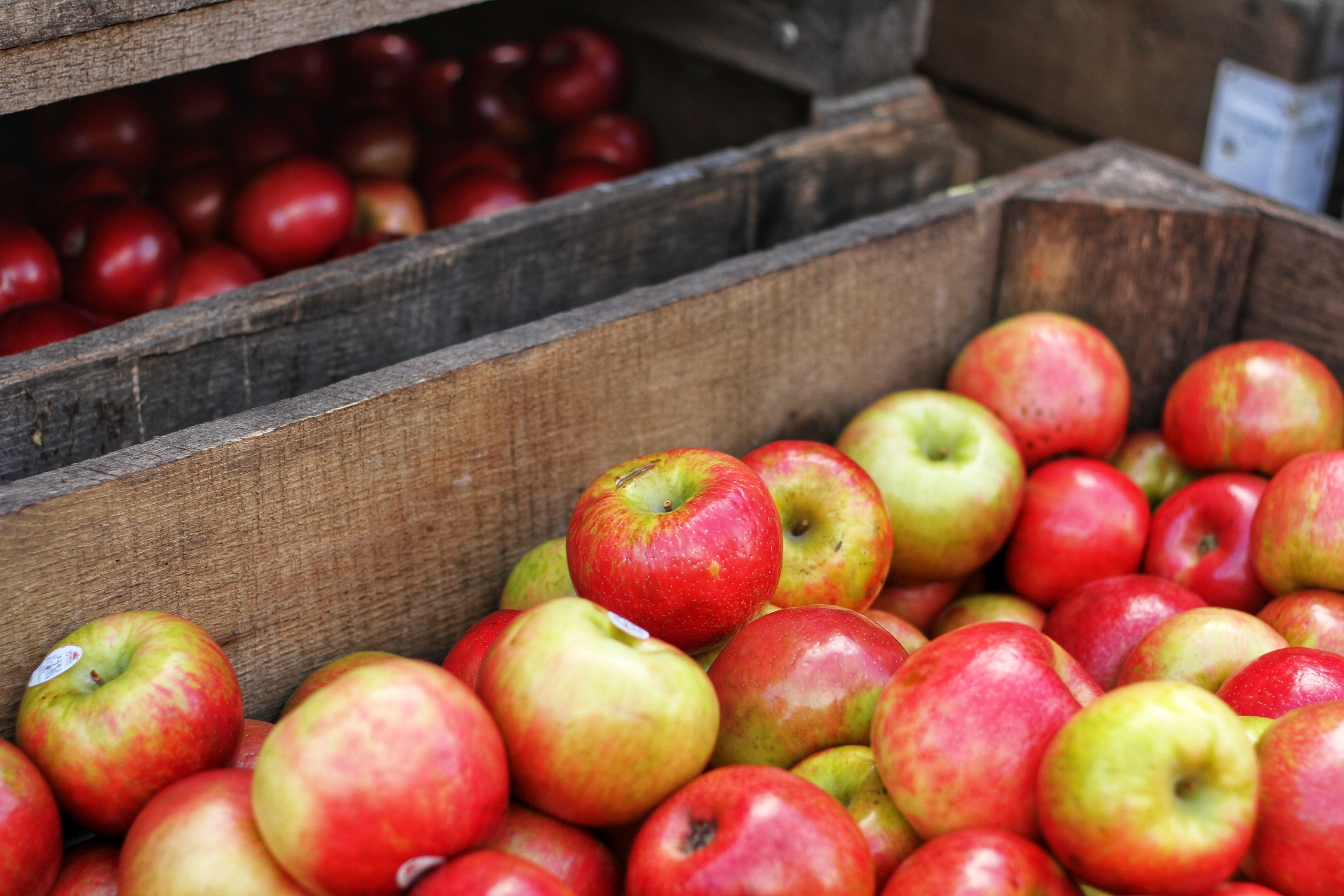Red-and-green Apples in Brown Wooden Box