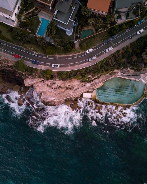 Photos gratuites de circulation, côte, d'en haut, mer