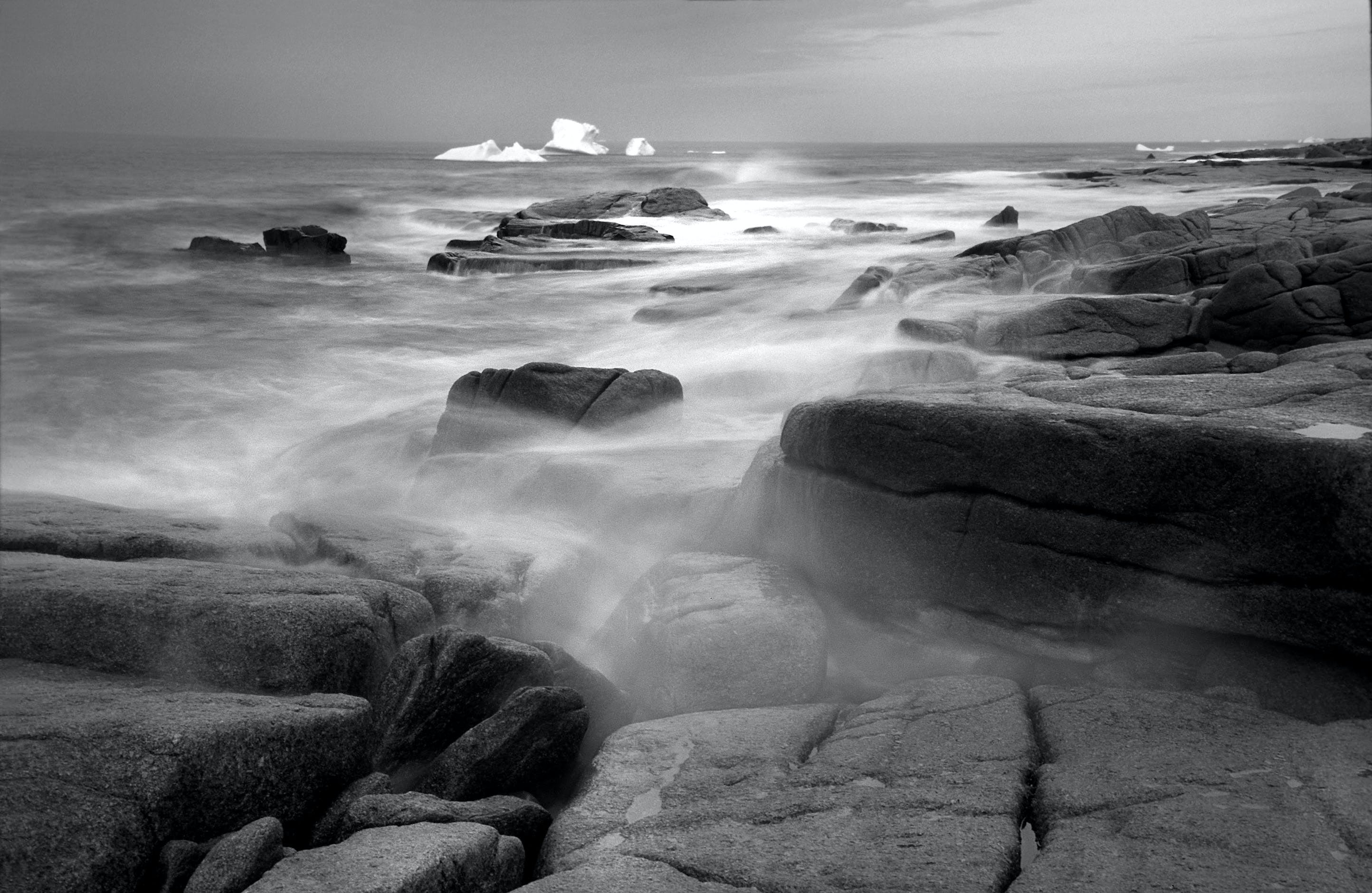 Grayscale Photography of Seashore