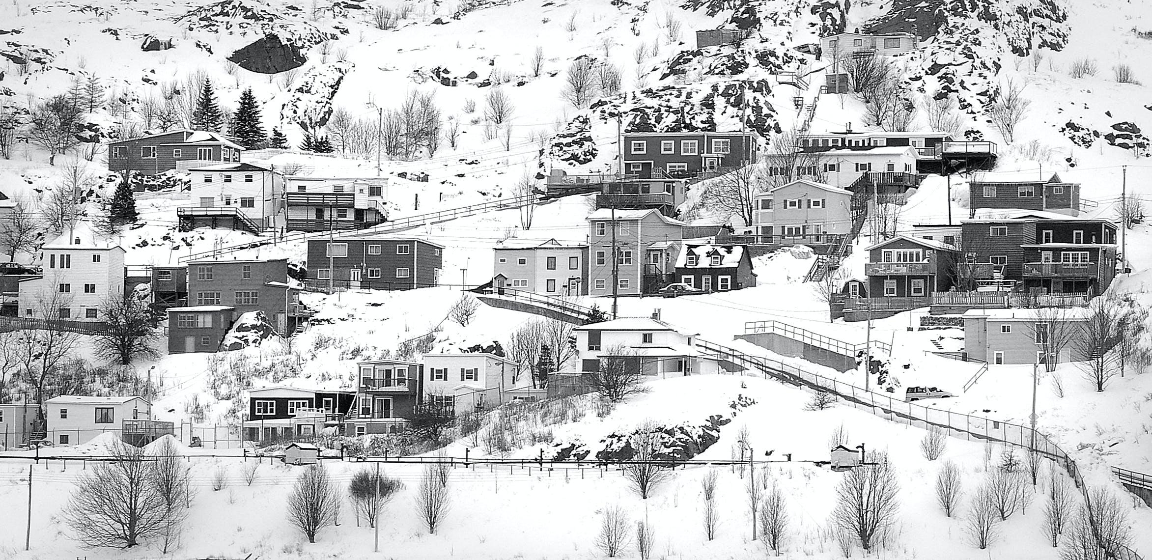 Immagine gratuita di bianco e nero, case, cittadina, collina