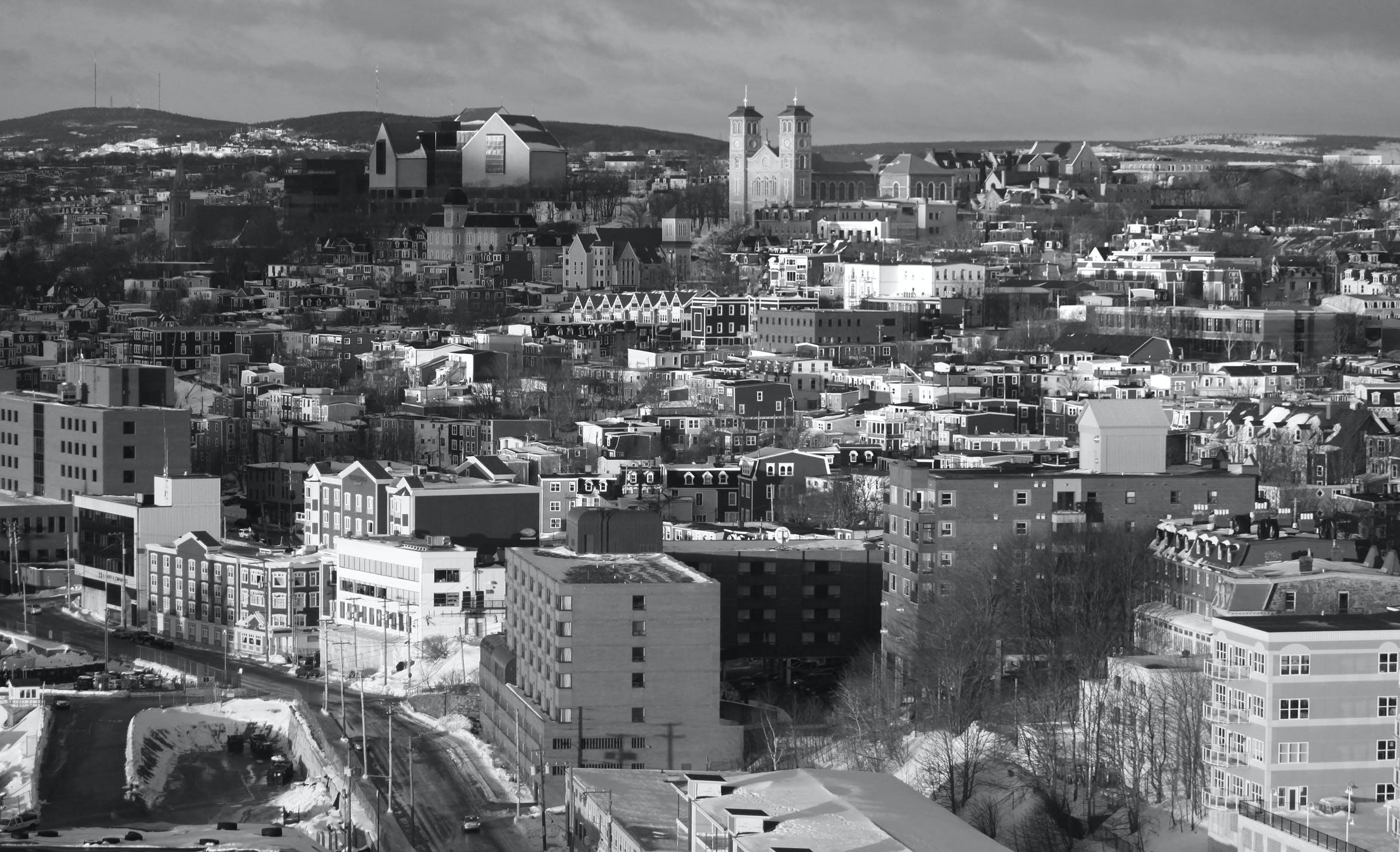 Grayscale Photo of Urban City