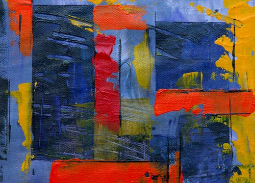Blue, Red, and Yellow Abstract Painting