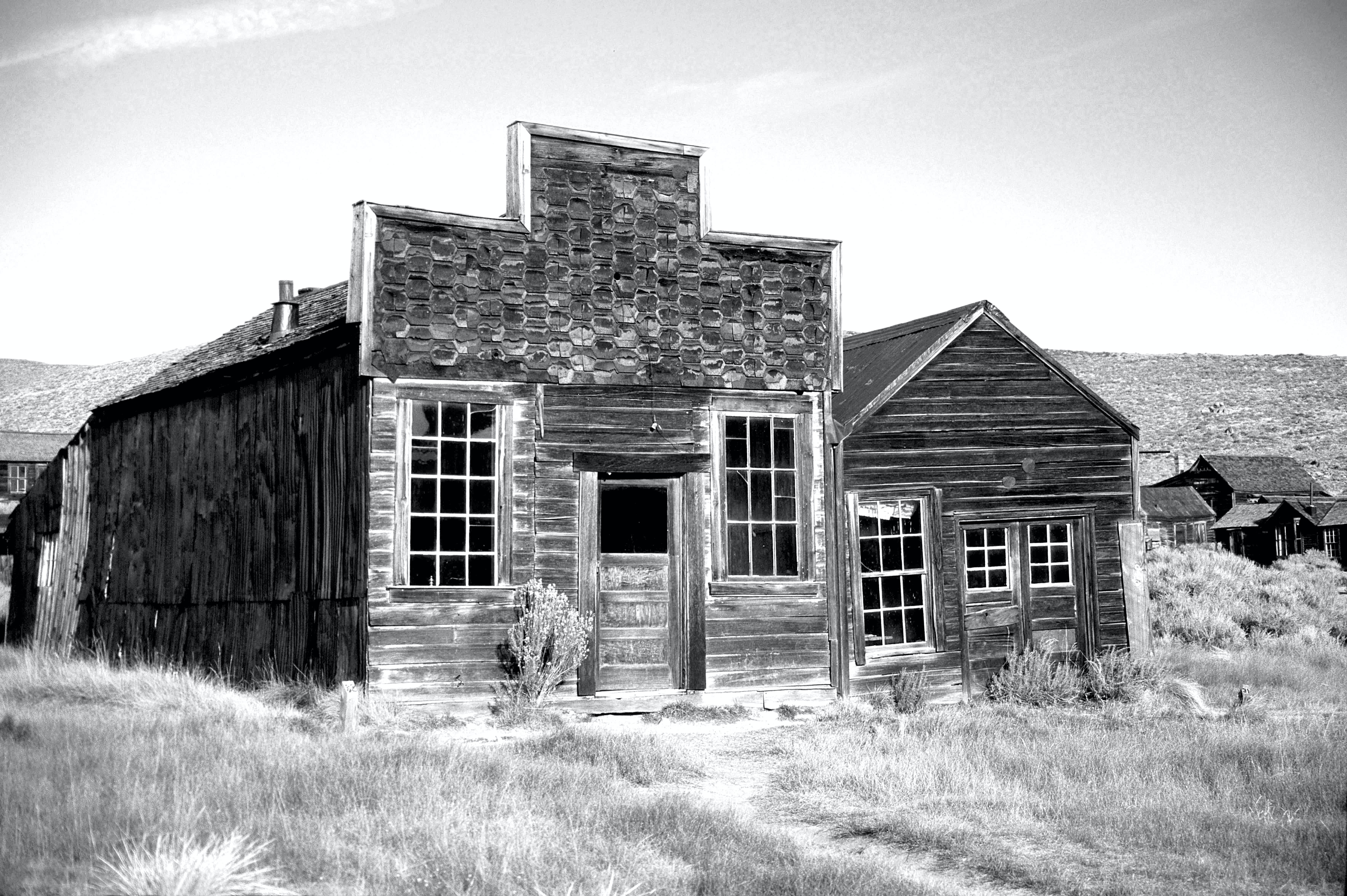 Gray Scale Photo of Brown Wooden House during Daytime