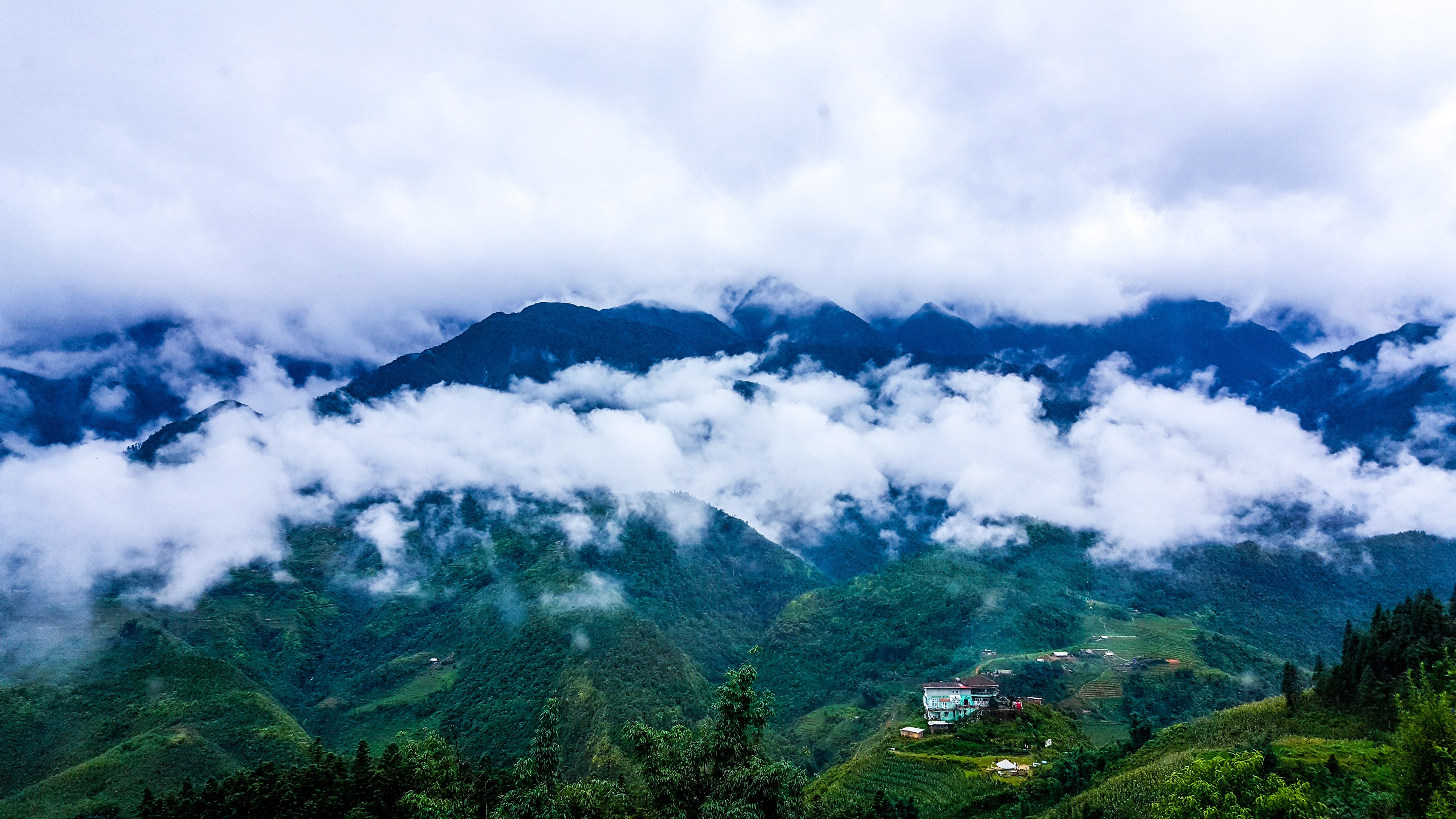 Mountain Covered in Clouds
